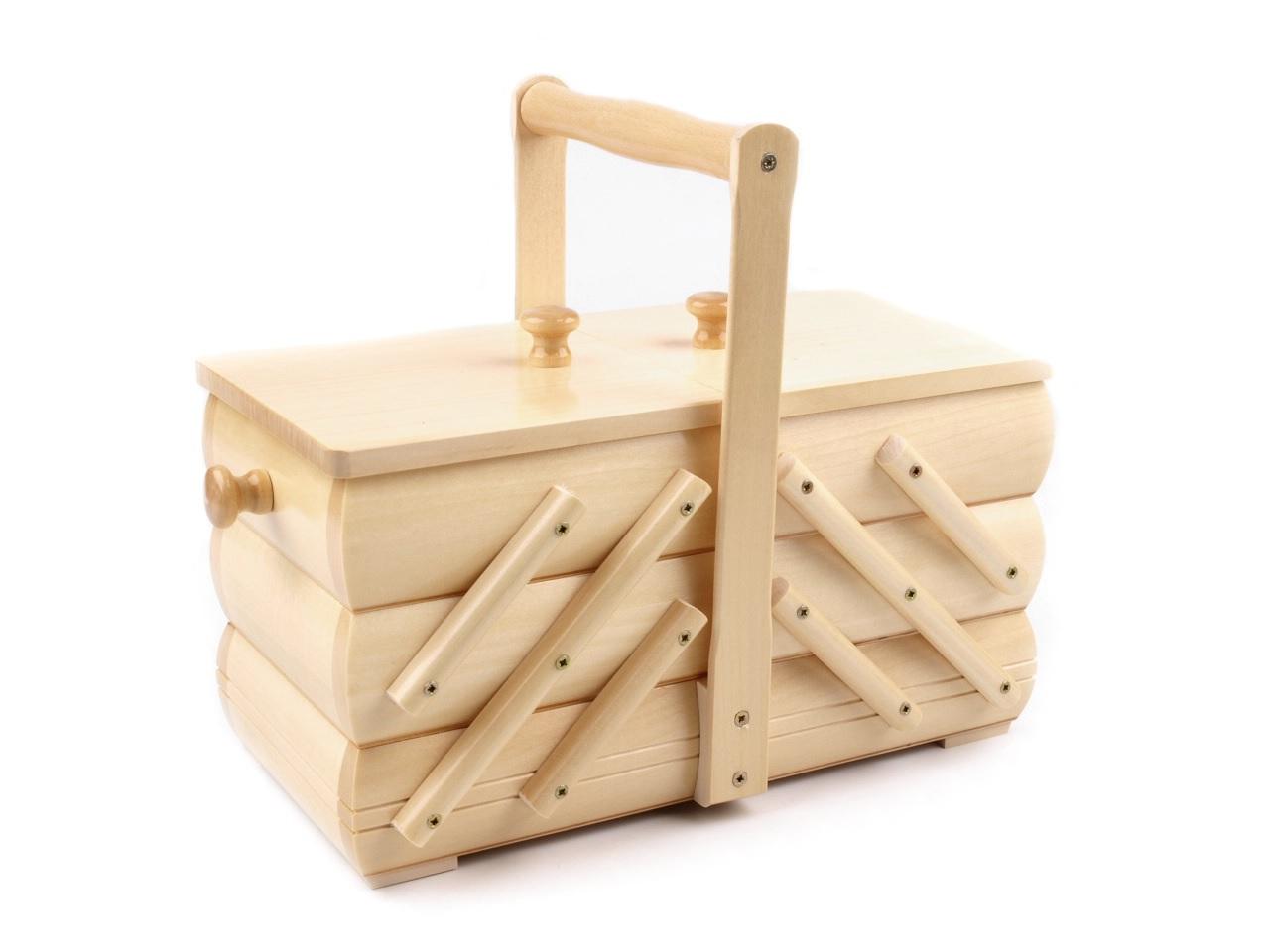 košík - kazeta na šicí potřeby rozkládací,velký,přírodní