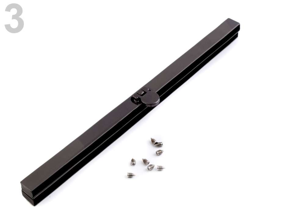 rámeček vkládací 1x19cm na kabelky, peněženky nikl/sms-2