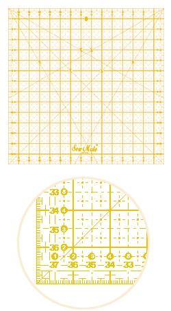 patchworkové pravítko 12x12 palců žluté popisky-1
