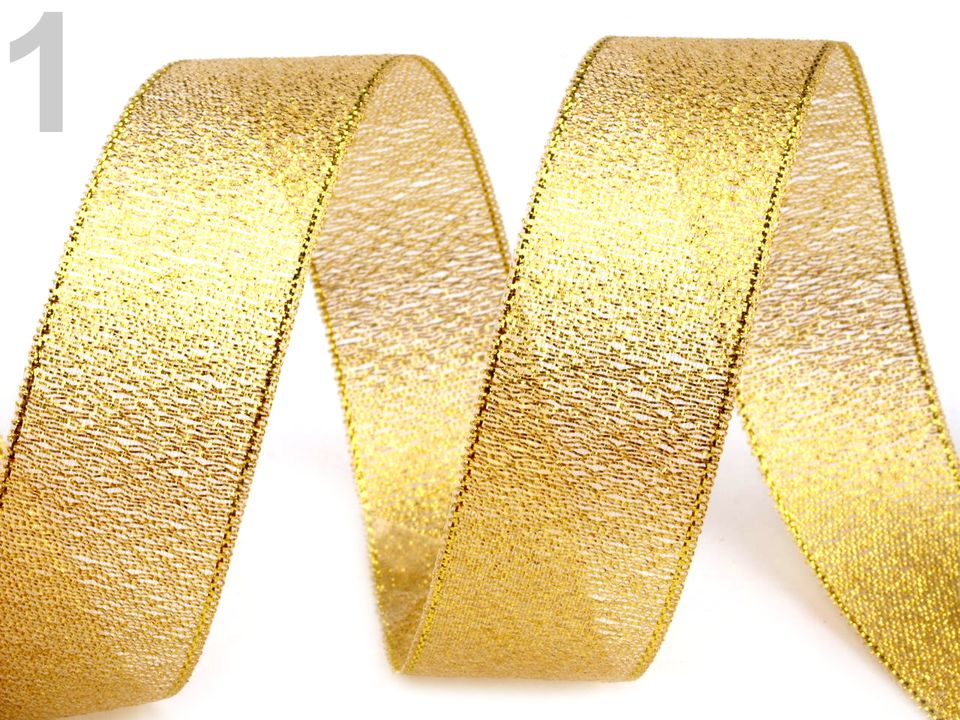 stuha rexonová zlatá/stříb š.20mm-1