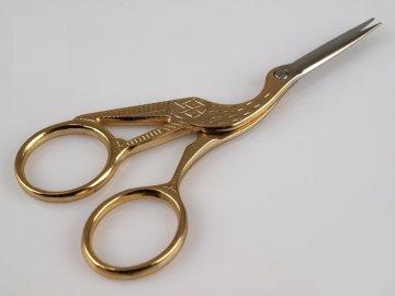 nůžky vyšívací čapí 11,5cm zlaté