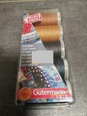 dárkový set nití Gütermann- 3x100m jeans + 2x200m Jeans melír