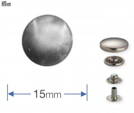 druk stiskací ANORAK/WUK 15mm stříbrný 10ks