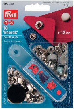 druk stiskací Anorak 12mm střírbný 10ks