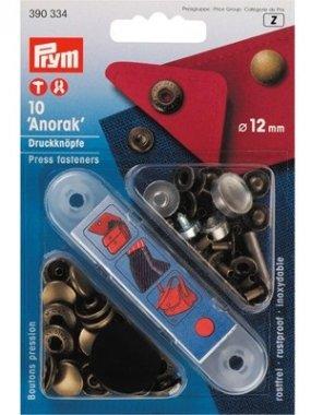 druk stiskací Anorak 12mm staromosaz 10ks