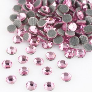4mm nalepovací kameny broušené light rose = světle růžová