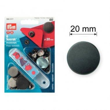 druk stiskací-ANORAK/WUK 20mm 10ks černěný mat