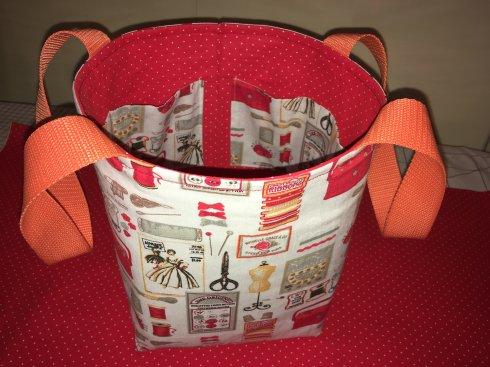košík látkový 100%bavlna cca16x21cm + 6ks kapsiček uvnitř