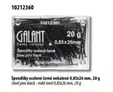 Špendlíky ocelové černé nekalené 0,85x26mm,20 g