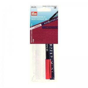 fix na textil červený s písmenkovou šablonou