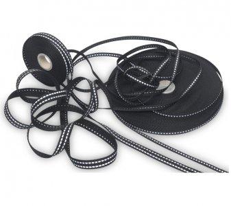 reflexní našívací páska 15mm (černý popruh se stříbrnými proužky)
