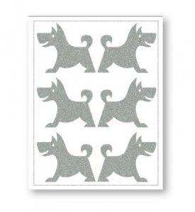 reflexní nažehlovačky 6ks pes na archu 12x9cm