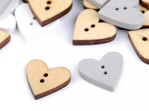 knoflík dřevěné srdce 18x19mm