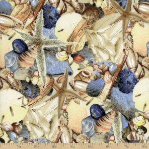 látka beach treasures-scattered shells-sunset 100%bavlna    110cm šíře/rowan