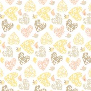 látka sweetheart-love birds-buttercup 100%bavlna            110cm šíře, rowan