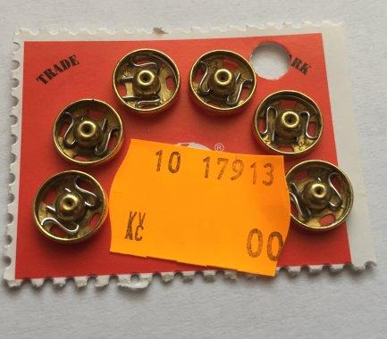 patentky Kin vel.4 6ks/karta 12mm mosaz=zlaté