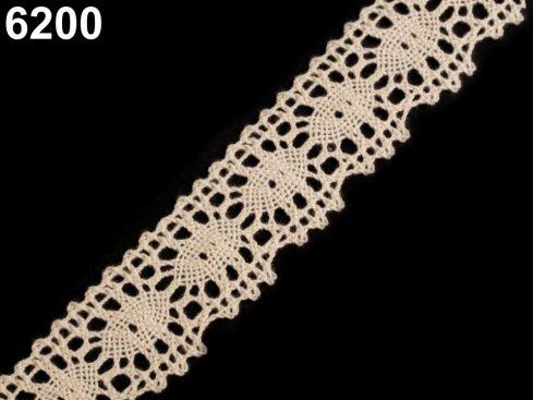 krajka paličkovaná 100%bavlna 32mm béžová