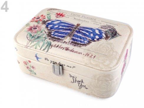 šperkovnice motýl modrý 7x14x22cm