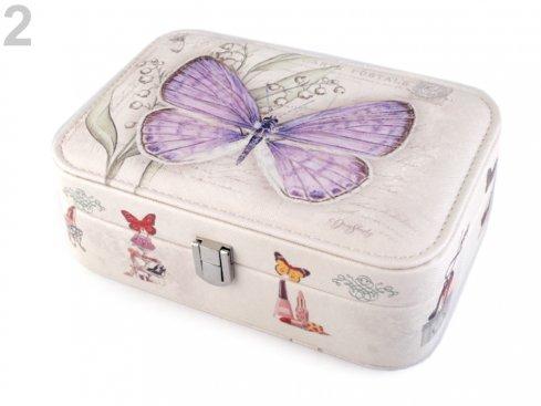 šperkovnice motýl fialový 7x14x22cm