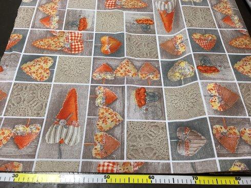 látka 140cm šíře/100%bavlna srdce na béžovo-oranžové
