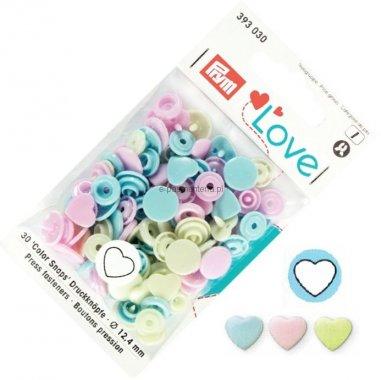plastové patentky PRYM LOVE 30ks MIX srdce