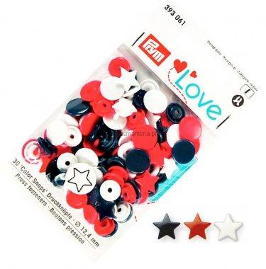 plastové patentky PRYM LOVE 30ks MIX hvězdičky