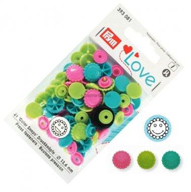 plastové patentky PRYM LOVE 30ks MIX kytičky