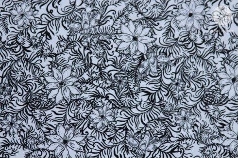 látka  100%bavlna byzantium-silhouette-black                110cm šíře/rowan