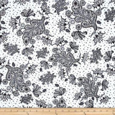 látka  100%bavlna byzantium-paisley-black                   110cm šíře/rowan