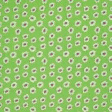 látka  100%bavlna sketch book-gerbera dot-green grass       110cm šíře/rowan