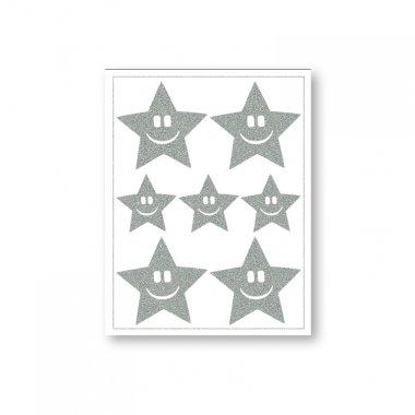 reflexní nažehlovačky 7ks hvězdy na archu 12x9cm