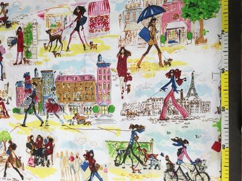látka 140cm šíře/100%bavlna holky+kolo Paris