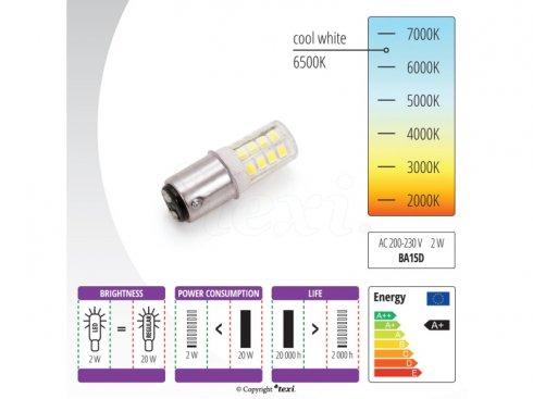 žárovka bajonet LED BA15D, 240V/2W