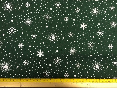 látka vánoční zelená+bílé vločky, 150cm šíře, 140g/m2