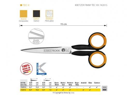 Nůžky s mikrozoubky pro obtížné materiály, délka 6