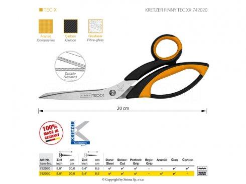 Nůžky s mikrozoubky pro obtížné materiály, délka 8