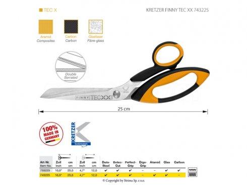 Nůžky s mikrozoubky pro obtížné materiály, délka 10