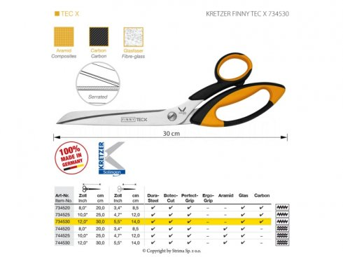 Nůžky s mikrozoubky pro obtížné materiály, délka 12
