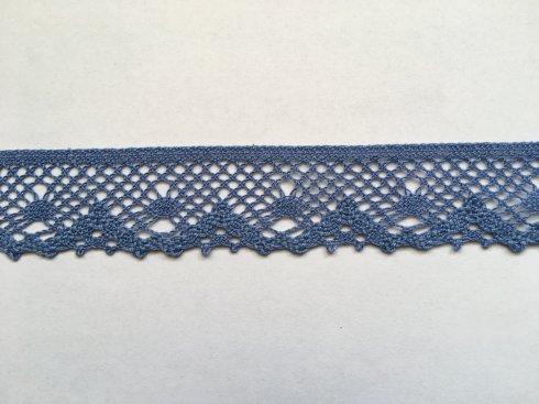 krajka 100% bavlna 40mm paličkovaná modrá
