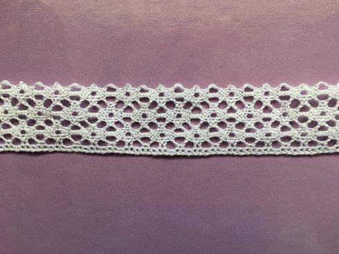 krajka 100% bavlna 25mm paličkovaná bílá