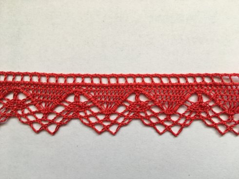 krajka 100% bavlna 32mm paličkovaná červená