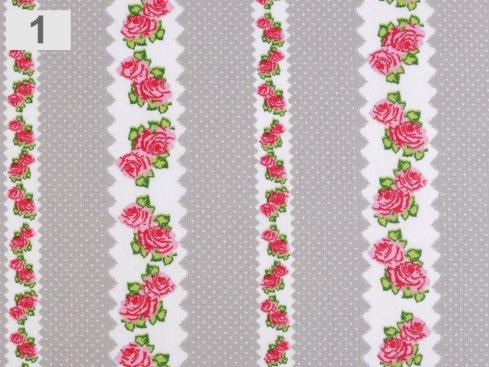 látka 100%bavlna růže 140cm šíře/115gm2
