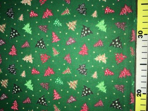 látka vánoční stromky zelené 140cm/100%bavlna