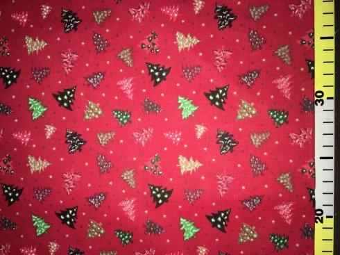 látka vánoční stromky červené 140cm/100%bavlna
