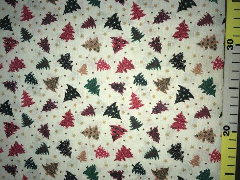látka vánoční stromky béžové 140cm/100%bavlna