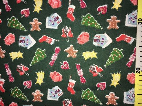 látka vánoční perníčky zelené 140cm/100%bavlna