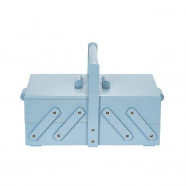 kazeta na šití dřevěná modrá 36x19x22cm classic modern