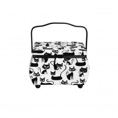 kazeta - košík na šicí potřeby M bílo/černý kočky
