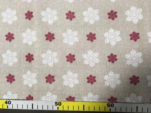 látka vánoční vločky na režné 140cm/100%bavlna