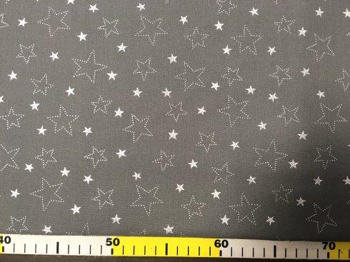 látka stříbrotisk hvězdy na šedé 150cm/100%bavlna